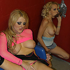 hot blonde pornstars sharing a black cock at a glory hole from Ruth BlackWell